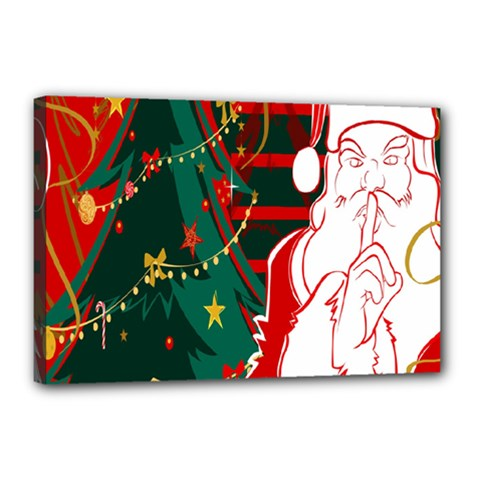 Santa Clause Xmas Canvas 18  X 12