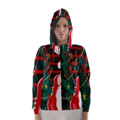 Santa Clause Xmas Hooded Wind Breaker (Women)