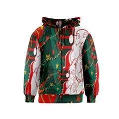 Santa Clause Xmas Kids  Zipper Hoodie