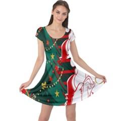 Santa Clause Xmas Cap Sleeve Dresses