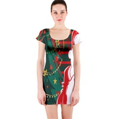 Santa Clause Xmas Short Sleeve Bodycon Dress