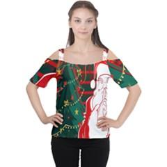 Santa Clause Xmas Women s Cutout Shoulder Tee