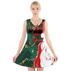 Santa Clause Xmas V Neck Sleeveless Skater Dress