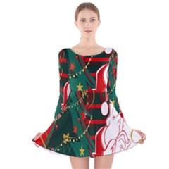 Santa Clause Xmas Long Sleeve Velvet Skater Dress