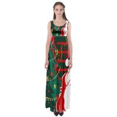 Santa Clause Xmas Empire Waist Maxi Dress