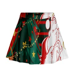Santa Clause Xmas Mini Flare Skirt