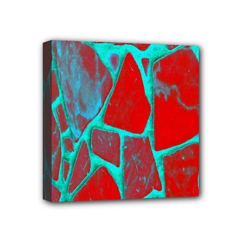 Red Marble Background Mini Canvas 4  X 4