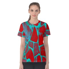 Red Marble Background Women s Cotton Tee