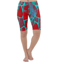 Red Marble Background Cropped Leggings