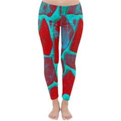Red Marble Background Classic Winter Leggings