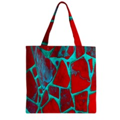 Red Marble Background Zipper Grocery Tote Bag