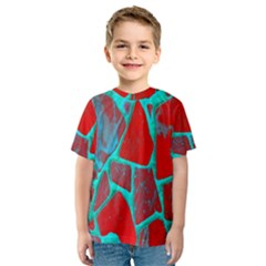 Red Marble Background Kids  Sport Mesh Tee