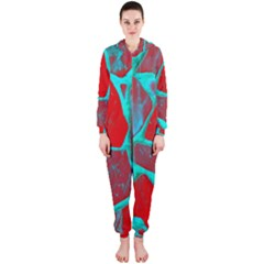 Red Marble Background Hooded Jumpsuit (ladies)
