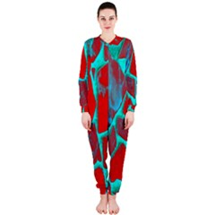 Red Marble Background Onepiece Jumpsuit (ladies)