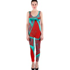 Red Marble Background OnePiece Catsuit