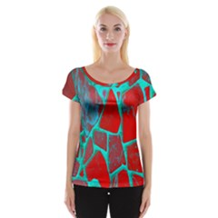 Red Marble Background Women s Cap Sleeve Top
