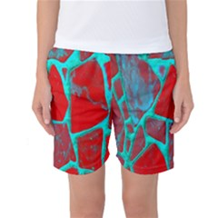 Red Marble Background Women s Basketball Shorts