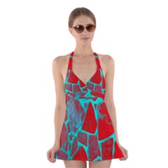 Red Marble Background Halter Swimsuit Dress