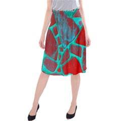 Red Marble Background Midi Beach Skirt