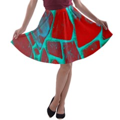 Red Marble Background A-line Skater Skirt