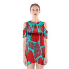 Red Marble Background Shoulder Cutout One Piece