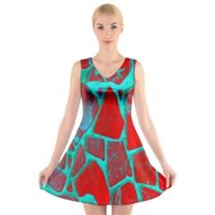 Red Marble Background V Neck Sleeveless Skater Dress