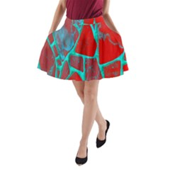 Red Marble Background A-Line Pocket Skirt