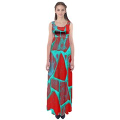 Red Marble Background Empire Waist Maxi Dress