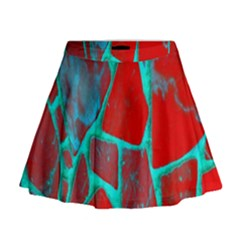 Red Marble Background Mini Flare Skirt