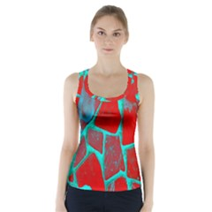 Red Marble Background Racer Back Sports Top