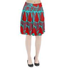 Red Marble Background Pleated Skirt