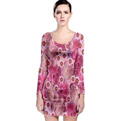 Roses Flowers Rose Blooms Nature Long Sleeve Bodycon Dress