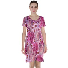 Roses Flowers Rose Blooms Nature Short Sleeve Nightdress