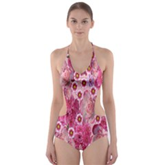 Roses Flowers Rose Blooms Nature Cut Out One Piece Swimsuit
