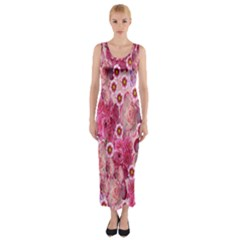 Roses Flowers Rose Blooms Nature Fitted Maxi Dress