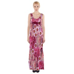 Roses Flowers Rose Blooms Nature Maxi Thigh Split Dress