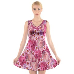 Roses Flowers Rose Blooms Nature V Neck Sleeveless Skater Dress