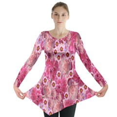 Roses Flowers Rose Blooms Nature Long Sleeve Tunic