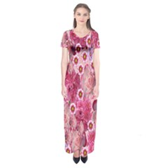 Roses Flowers Rose Blooms Nature Short Sleeve Maxi Dress