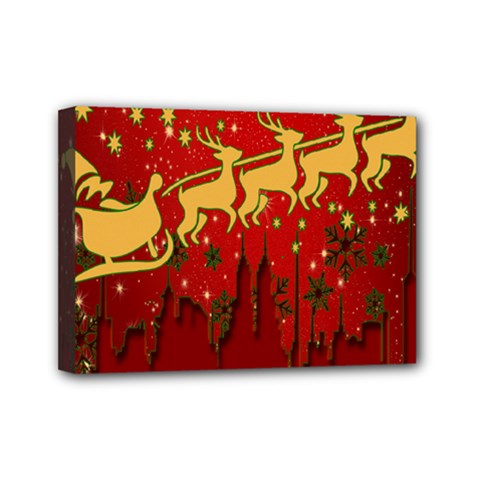 Santa Christmas Claus Winter Mini Canvas 7  X 5