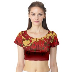 Santa Christmas Claus Winter Short Sleeve Crop Top (tight Fit)