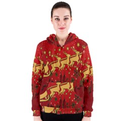 Santa Christmas Claus Winter Women s Zipper Hoodie