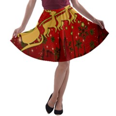 Santa Christmas Claus Winter A Line Skater Skirt