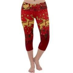 Santa Christmas Claus Winter Capri Yoga Leggings