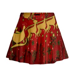 Santa Christmas Claus Winter Mini Flare Skirt