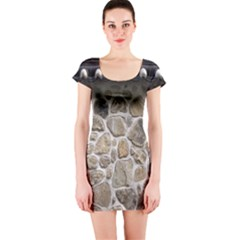 Roof Tile Damme Wall Stone Short Sleeve Bodycon Dress