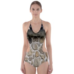 Roof Tile Damme Wall Stone Cut-Out One Piece Swimsuit