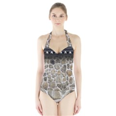 Roof Tile Damme Wall Stone Halter Swimsuit