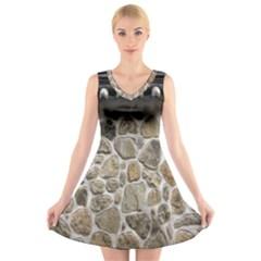 Roof Tile Damme Wall Stone V Neck Sleeveless Skater Dress