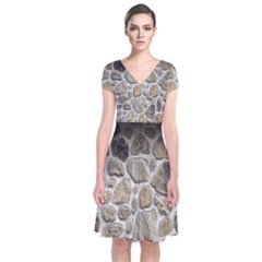 Roof Tile Damme Wall Stone Short Sleeve Front Wrap Dress